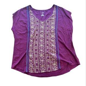 Sonoma Purple Short Sleeve Blouse 100% Cotton - 2X